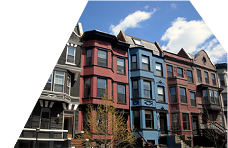 Beautiful view of colorful and renovated city row houses
